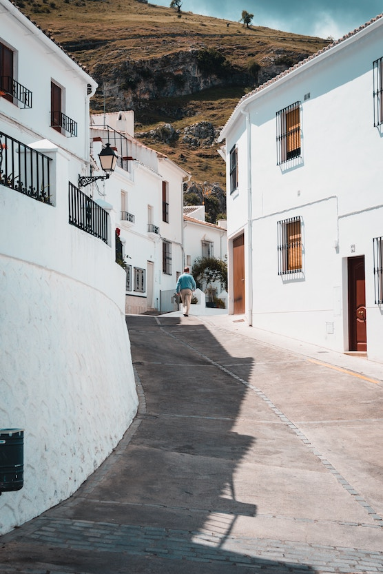 Adult language learner at a Spanish village