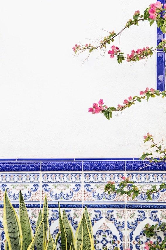 Flower on Spanish mosaic background