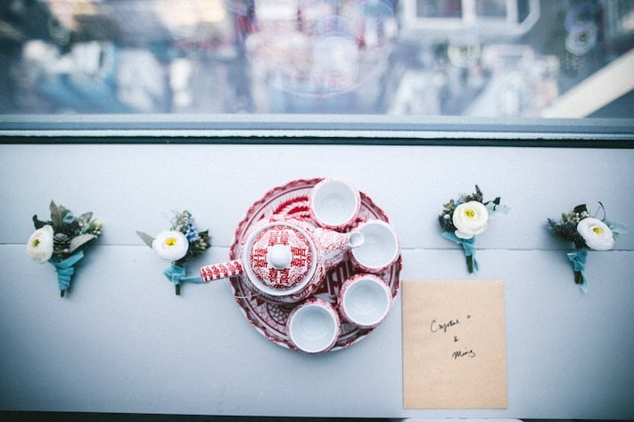 Wedding card by Chinese teapot